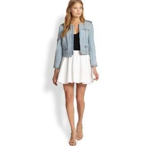 Alice + Olivia White Blaise Flared Poplin skirt